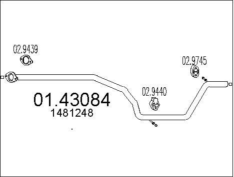 Tube d'echappement MTS 01.43084 (X1)
