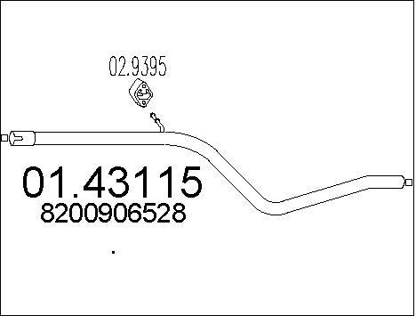 Tube d'echappement MTS 01.43115 (X1)