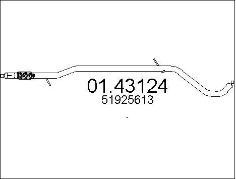 Tube d'echappement MTS 01.43124 (X1)