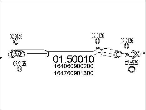 Silencieux central MTS 01.50010 (X1)