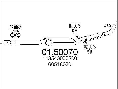 Silencieux central MTS 01.50070 (X1)
