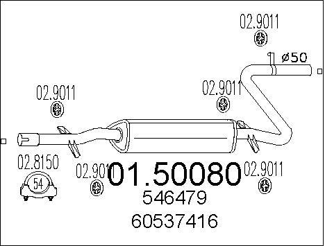 Silencieux central MTS 01.50080 (X1)