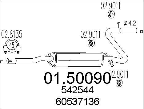 Silencieux central MTS 01.50090 (X1)