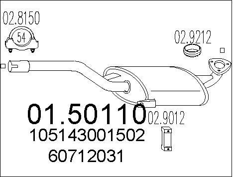 Silencieux central MTS 01.50110 (X1)