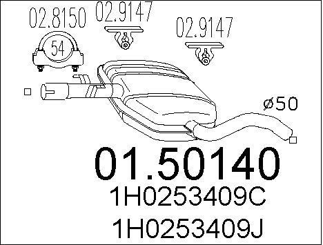 Silencieux central MTS 01.50140 (X1)