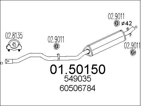 Silencieux central MTS 01.50150 (X1)