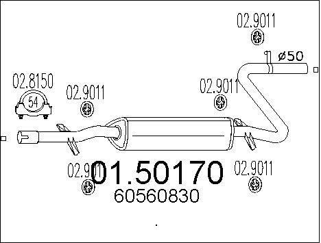 Silencieux central MTS 01.50170 (X1)