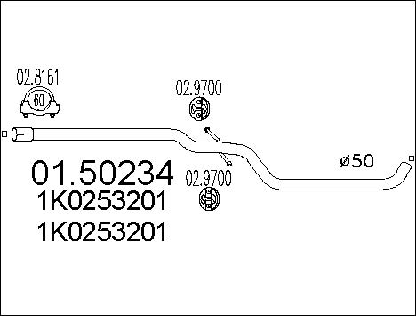 Silencieux central MTS 01.50234 (X1)