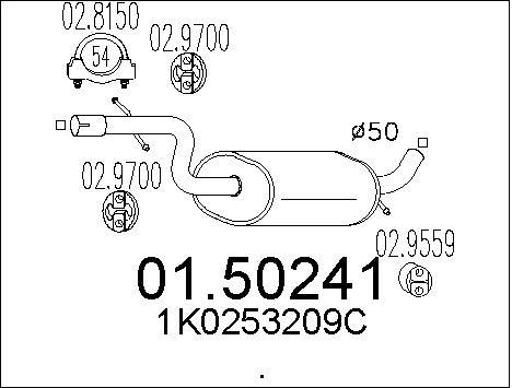 Silencieux central MTS 01.50241 (X1)