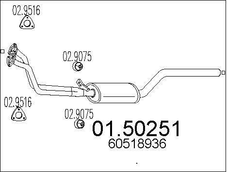 Silencieux central MTS 01.50251 (X1)