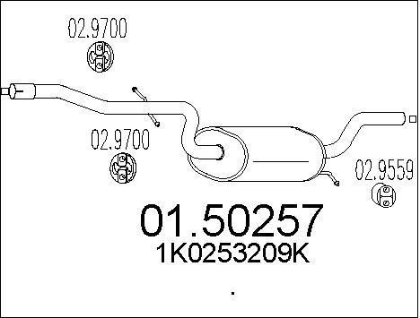 Silencieux central MTS 01.50257 (X1)