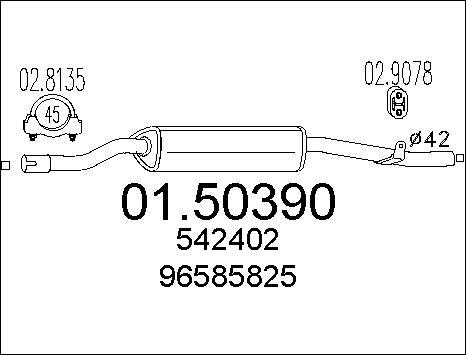 Silencieux central MTS 01.50390 (X1)