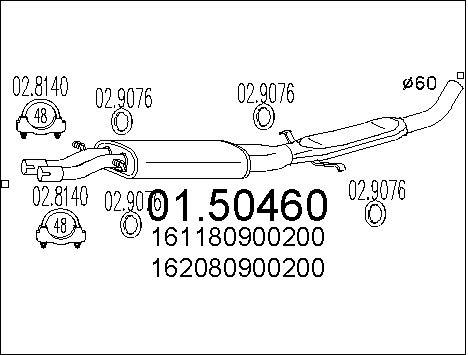 Silencieux central MTS 01.50460 (X1)