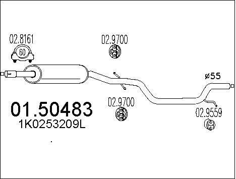 Silencieux central MTS 01.50483 (X1)