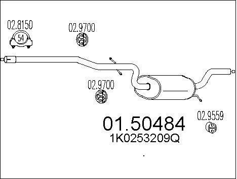 Silencieux central MTS 01.50484 (X1)