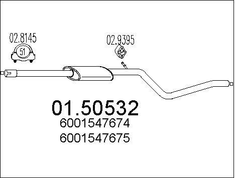 Silencieux central MTS 01.50532 (X1)
