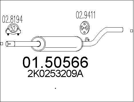 Silencieux central MTS 01.50566 (X1)