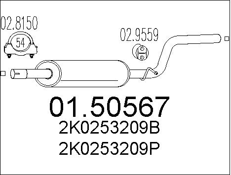 Silencieux central MTS 01.50567 (X1)