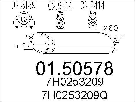 Silencieux central MTS 01.50578 (X1)