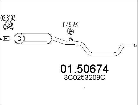 Silencieux central MTS 01.50674 (X1)