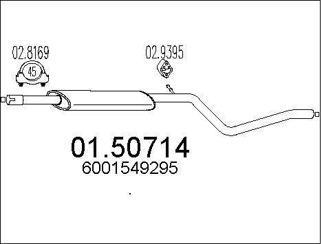 Silencieux central MTS 01.50714 (X1)