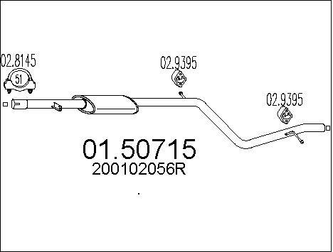 Silencieux central MTS 01.50715 (X1)