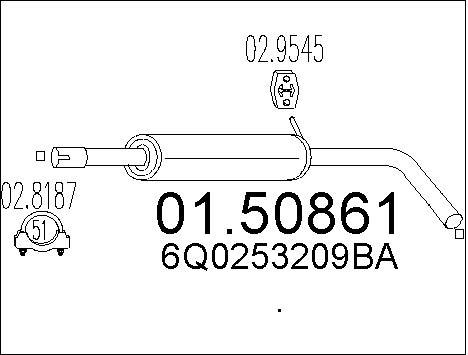 Silencieux central MTS 01.50861 (X1)