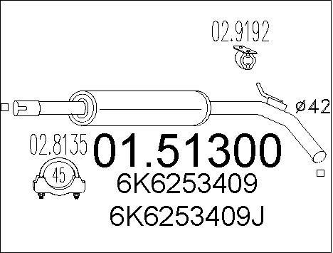 Silencieux central MTS 01.51300 (X1)