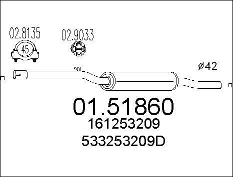 Silencieux central MTS 01.51860 (X1)