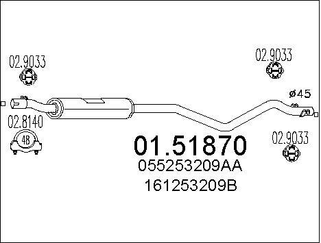 Silencieux central MTS 01.51870 (X1)