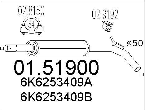 Silencieux central MTS 01.51900 (X1)