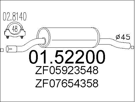 Silencieux avant MTS 01.52200 (X1)