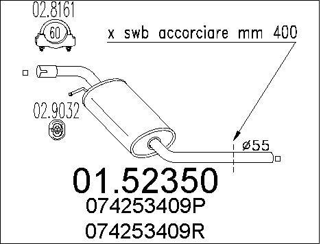 Silencieux central MTS 01.52350 (X1)