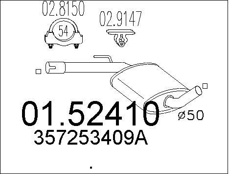 Silencieux central MTS 01.52410 (X1)