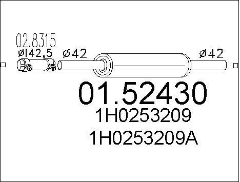 Silencieux central MTS 01.52430 (X1)