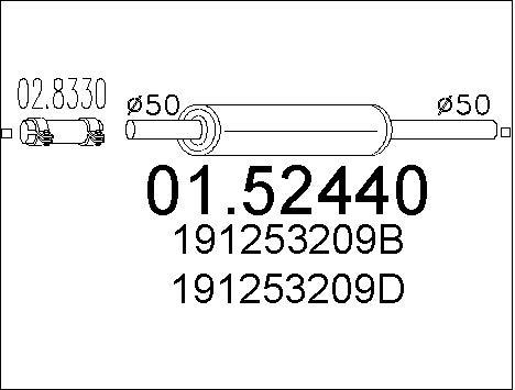 Silencieux central MTS 01.52440 (X1)