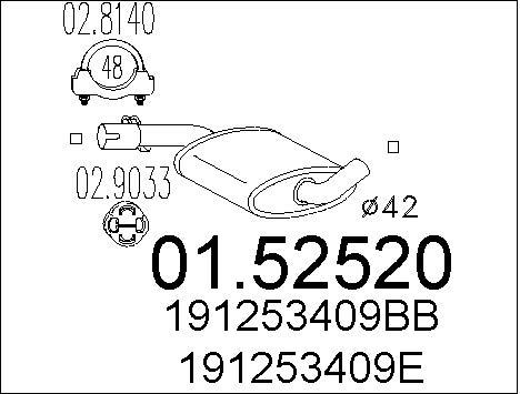 Silencieux central MTS 01.52520 (X1)