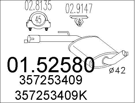 Silencieux central MTS 01.52580 (X1)
