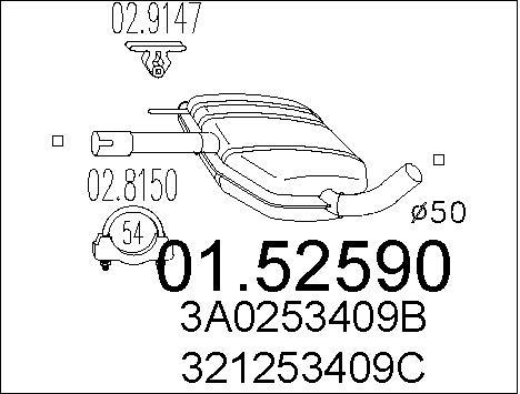 Silencieux central MTS 01.52590 (X1)