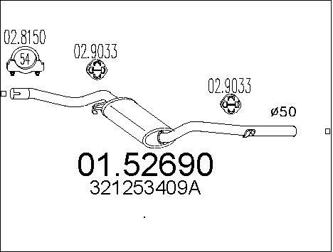 Silencieux central MTS 01.52690 (X1)
