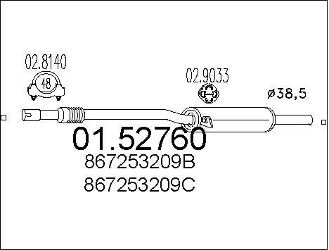 Silencieux central MTS 01.52760 (X1)