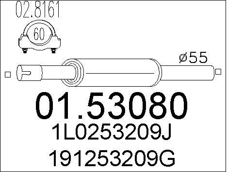 Silencieux avant MTS 01.53080 (X1)