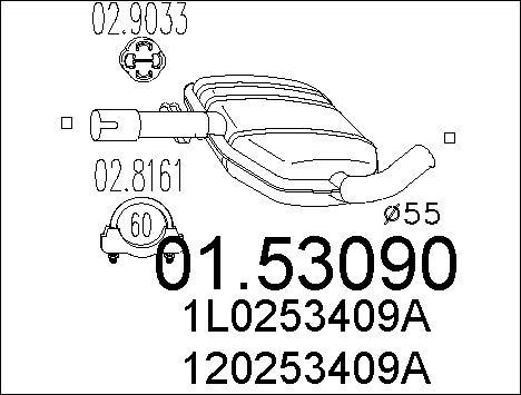 Silencieux central MTS 01.53090 (X1)