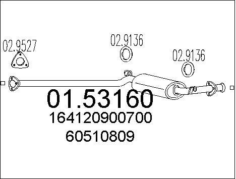 Silencieux central MTS 01.53160 (X1)
