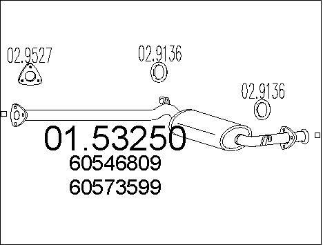 Silencieux central MTS 01.53250 (X1)