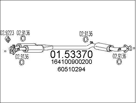 Silencieux central MTS 01.53370 (X1)