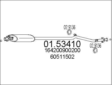 Silencieux central MTS 01.53410 (X1)