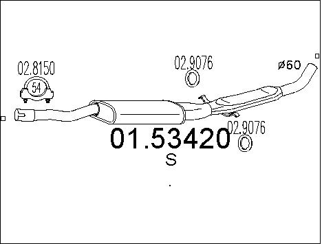 Silencieux central MTS 01.53420 (X1)