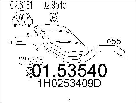 Silencieux central MTS 01.53540 (X1)