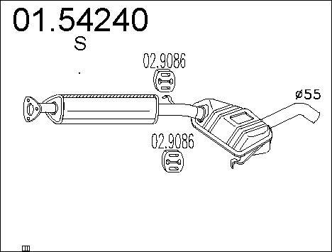 Silencieux central MTS 01.54240 (X1)